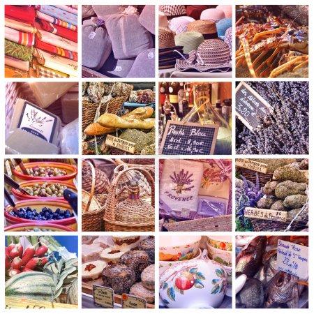 Photo pour Collage de marché de Provence avec 16 photos - image libre de droit