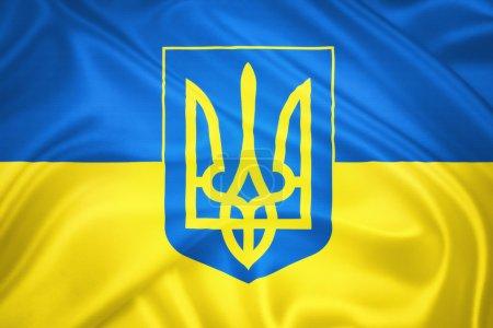 Photo pour Drapeau ukrainien et armoiries agitant le vent. Modèle de texture de soie - image libre de droit