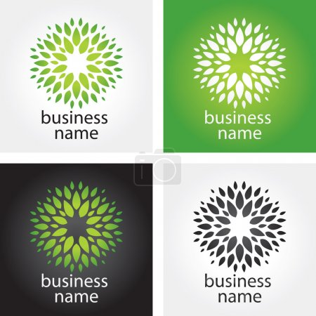 Illustration for Environmental eco icon or logo with plant - Royalty Free Image