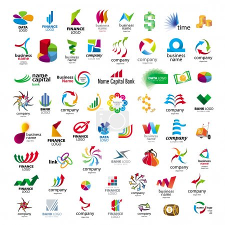 Illustration for Collection of vector icons for banks and financial companies - Royalty Free Image