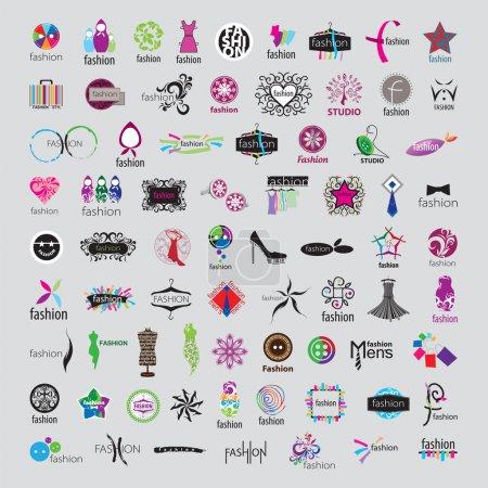 Illustration pour Plus grande collection de logos vectoriels d'accessoires de mode et de vêtements - image libre de droit