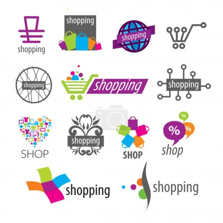 Illustration pour Collection de logos vectoriels shopping remises et magasins - image libre de droit