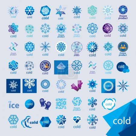 Illustration pour Plus grande collection de logos vectoriels froid et givre - image libre de droit