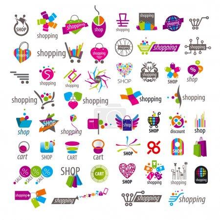 Illustration pour Grande collection de logos vectoriels et panier de rabais - image libre de droit