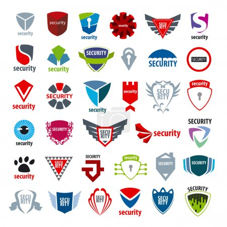 Illustration pour Plus grande collection de logos vectoriels protection et application - image libre de droit