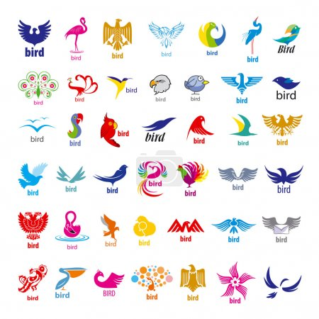 Illustration for Biggest collection of vector logos birds - Royalty Free Image