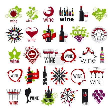 Illustration pour Plus grande collection de logos vectoriels vin - image libre de droit
