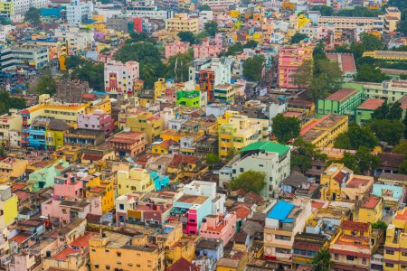 Photo for Colorful homes in crowded Indian city Trichy - Royalty Free Image
