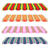 Detailed illustration of set of striped awnings Vector Roof Colored