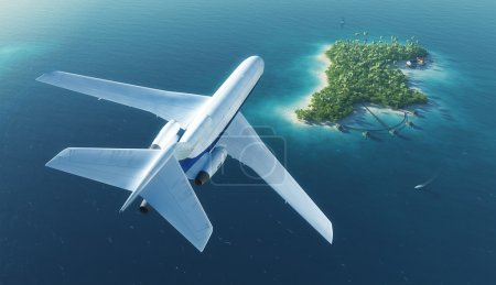 Large passenger plane flies over paradise tropical island