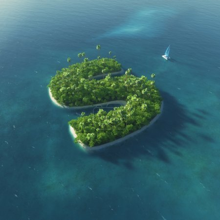 Island Alphabet. Paradise tropical island in the form of letter S