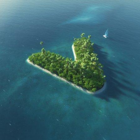 Alfabeto insular. Paraíso isla tropical en forma de letra V