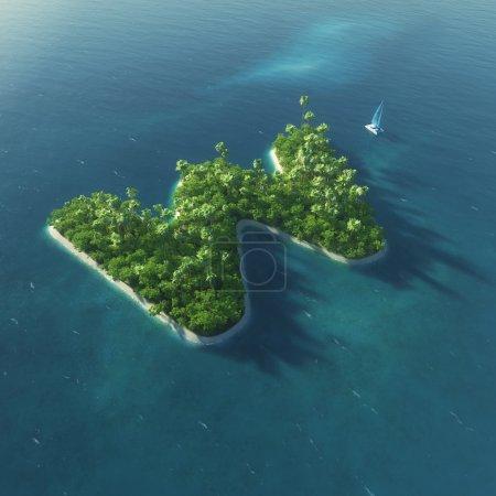 Inselalphabet. Paradies tropische Insel in Form von Buchstabe w