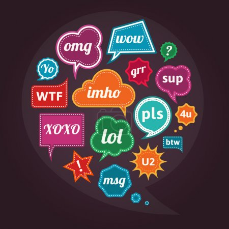 Illustration for Collection of acronyms and abbreviations on retro vintage colorful speech bubbles. See more vector illustrations in my portfolio. - Royalty Free Image