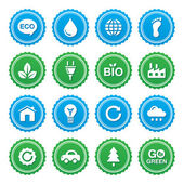 Retro blue and green gradient labels set with eco icons
