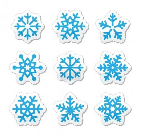 Christmas snowflakes icons set