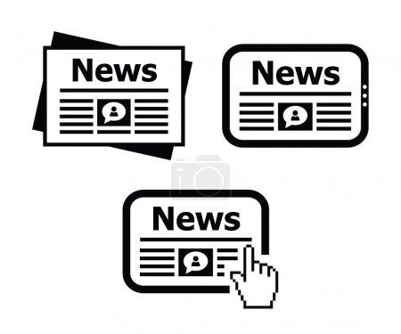 Illustration pour Icônes noir set - nouvelles en ligne, Journal - image libre de droit