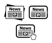 Newpaper news on tablet icons set