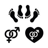 Sex relationship concept - black icons set feet in bed male and female signs
