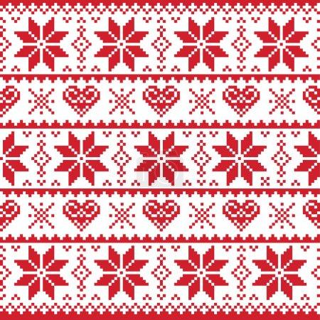 Illustration pour Hiver rouge et fond sans couture de Noël avec des pingouins style nordique - image libre de droit