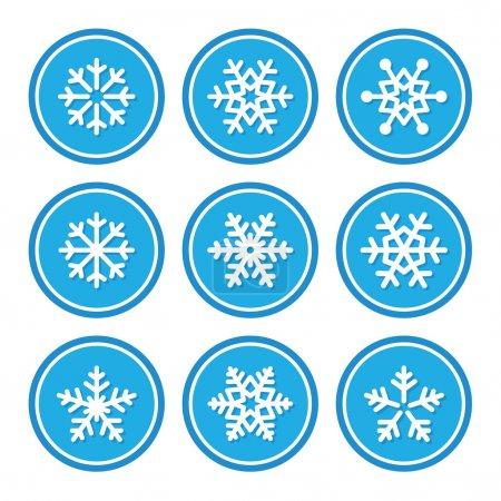 Illustration pour Ensemble d'icônes de Noël d'hiver flocons de neige - image libre de droit