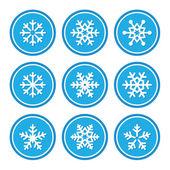 Snowflakes icons as retro labels