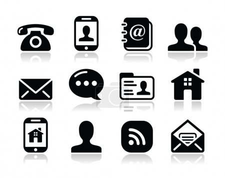 Photo for Contact icons set for web with reflection - phone, blog, man, home, rss - Royalty Free Image