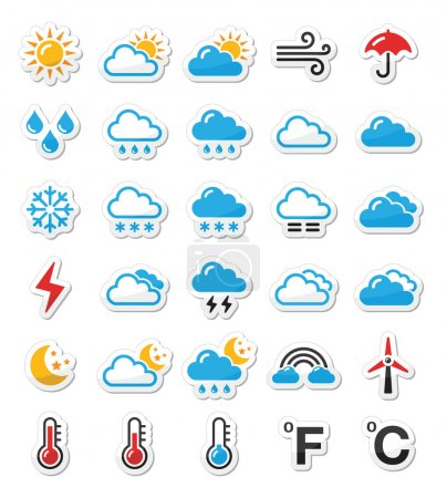 Illustration for Black icons set - weather conditions, seasons with reflection - Royalty Free Image