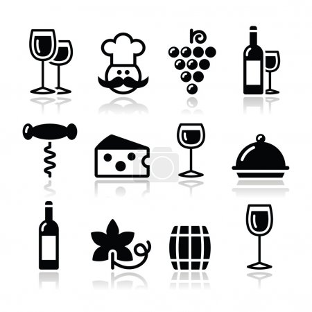 Illustration pour Icônes vin moderne noir avec reflet - image libre de droit