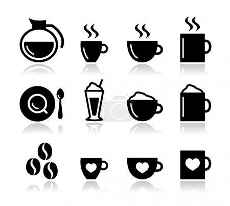 Illustration pour Icônes de café noir mis isolé sur blanc grains de café, tasse, tasse, types de café - image libre de droit