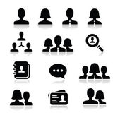 Modern simple black icons set - businessman businesswoman workers