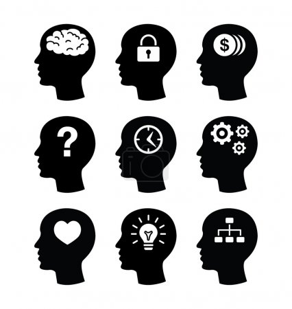 set d'icônes cerveau tête vector