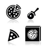 """Постер, картина, фотообои """"Пицца векторные иконки установить с отражениями"""""""