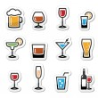 Beverages colourful icon set - vodka shot, beer, m...