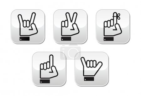 Hand vector gestures, signals and signs - victory, rock, point buttons