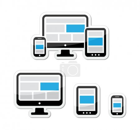 Photo for Website design - adjustable text and images elements displayed on different electronic devices icons set - Royalty Free Image
