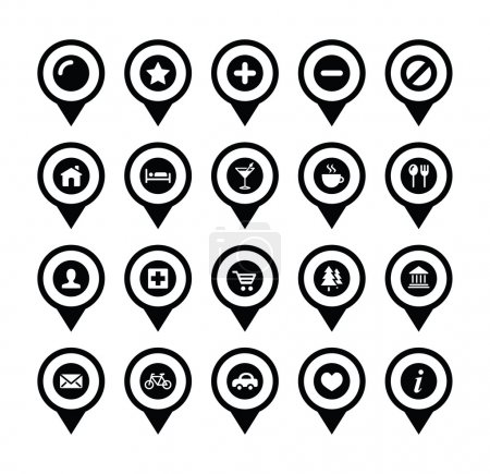 Map location markers, pointers vector icons set