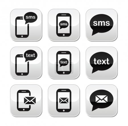 Illustration for Messaging, sending text messages modern square vector buttons - Royalty Free Image