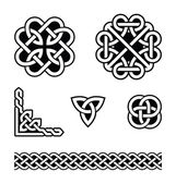 Set od traditional Celtic symbols knots braids in black and white