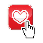 Love icon - vector red square heart button with pixelated hand