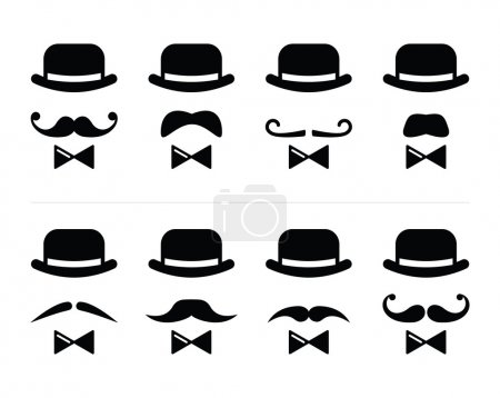 Illustration for Vector icons set - man with bowler hat and mustache isolated on white - Royalty Free Image