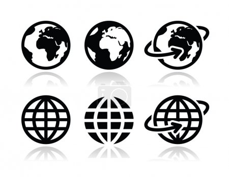 Illustration for World, map of continents as modern black icons isolated on white - Royalty Free Image
