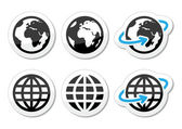 Glóbus země vektorové ikony s odrazem