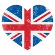 British vintage old flag heart shaped isolated on ...