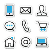 Contact web page stroke icons set