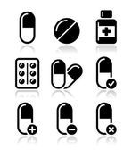 Black icons with reflection isolated on white - health medicine pills addiction