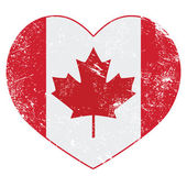 Canadian vintage old heart shaped flag - grunge style