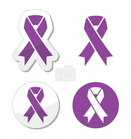 Purple ribbon - pancreatic cancer, testicular cancer, domestic violence awereness symbol