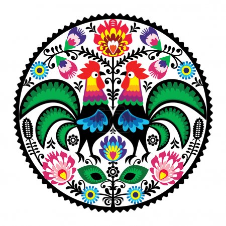 Polish floral embroidery with roosters - traditional folk pattern