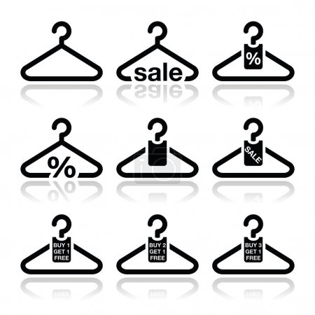 Hanger, sale, buy 1 get 1 free icons set